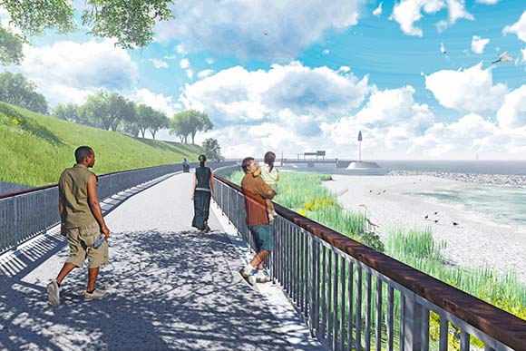 City officials envision visitors strolling the planned route, enjoying newly reachable beaches and a paddle-craft area to launch kayaks and small sailboats
