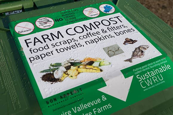 Food waste bin from Bon Appetit Management Company brought to CWRU's Squire Valleevue Farm