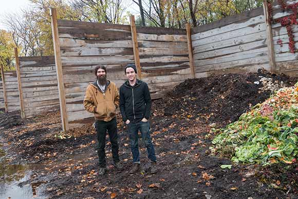 Michael Robinson and Dan Brown of Rust Belt Riders at the Rid-All composting bins