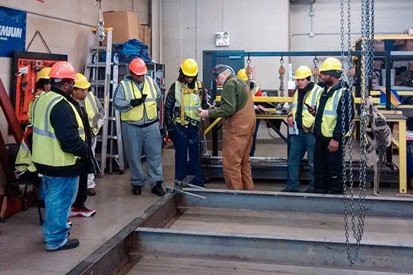 PAT class during a construction lab at the Iron Workers with Jeff Carlson