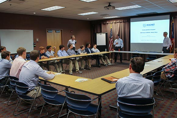 A presentation given to students from Chagrin Falls High by members of the medical device startup Oralectrics