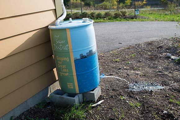 Rain barrel at the Watershed Stewardship Center