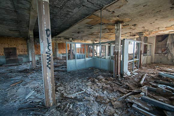 The current interior condition of he former Taylor & Boggis Foundry bldg, future home of the Foundry Project