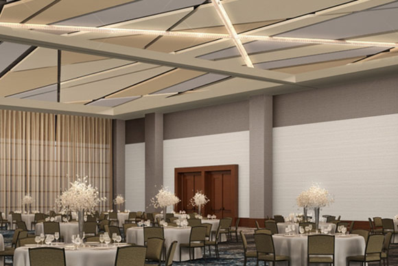 Ballroom rendering of the Hilton Cleveland Downtown