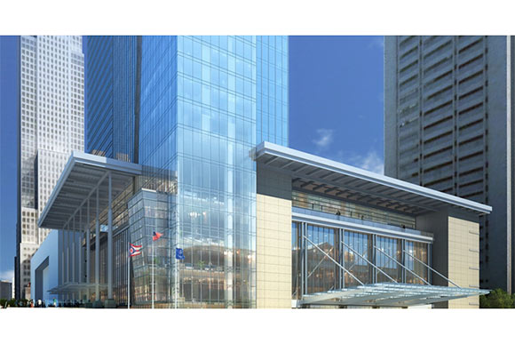 Exterior rendering of the Hilton Cleveland Downtown
