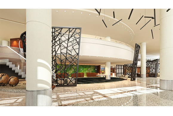 Lobby rendering of the Hilton Cleveland Downtown