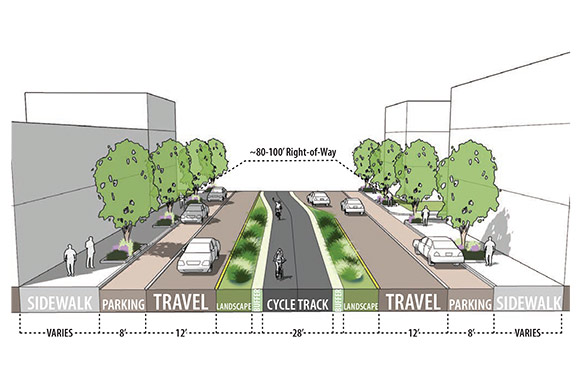 Euclid Ave Design - Median Protected Combined Lanes