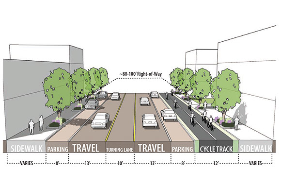 Euclid Ave Design - Two-way Protected Lanes Option