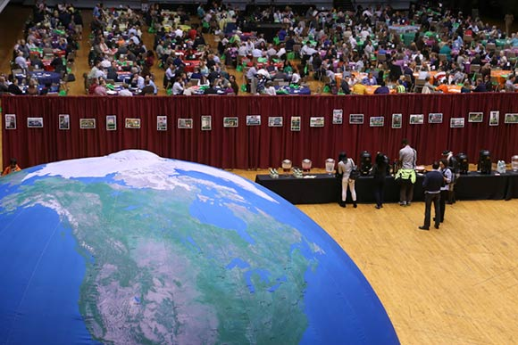 The 2015 edition of the annual Sustainable Cleveland 2019 event featured a large Planet Earth.