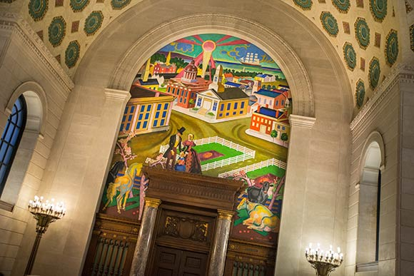 One of the murals in Brett Memorial Hall