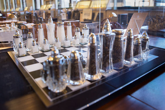 Salt & pepper shaker chess set part of The John G. White Collection of Chess