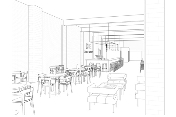CLE Urban Winery tasting bar rendering