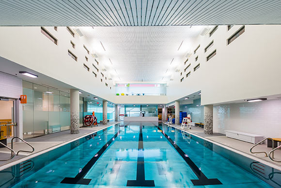 The pool at the Parker Hannifin Downtown YMCA