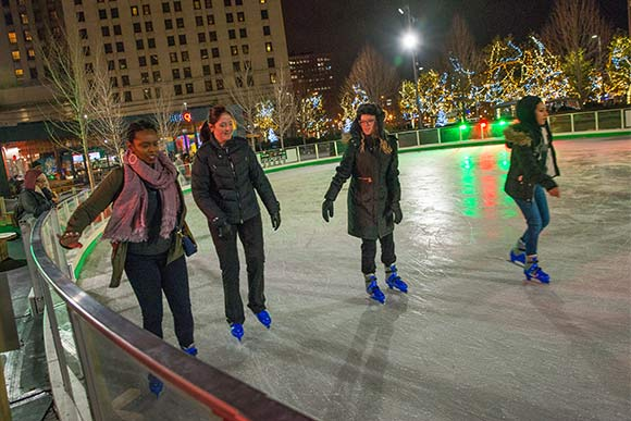 Skating on the rink at Public Square