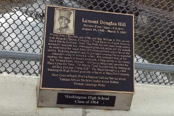 Plaque honoring Lamont Douglas Hill on the Vietnam Veterans Memorial Viaduct in Massillon