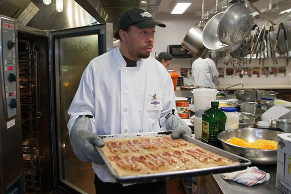 Erik Wells  a trainee in the Vocational Training Center program at Cornucopia's state-of-the-art commercial kitchen