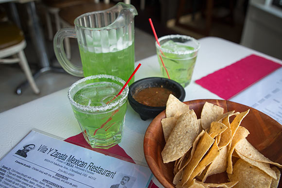 Chips and Salsa with a half picther of  margaritas at  Villa Y Zapata