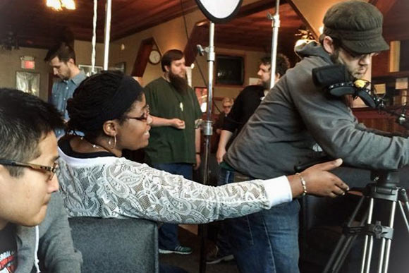 Filmmaker Jasmine Golphin on the set of To New Beginnings