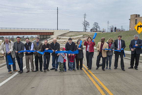 W. 73rd St underpass ribbon cutting