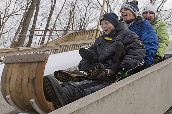 Toboggan chutes at the Chalet in the Mill Stream Run Reservation