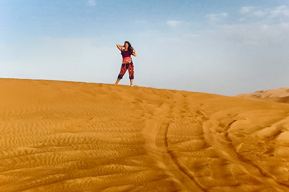 Lindsay on a desert safari outside of Dubai in United Arab Emirates