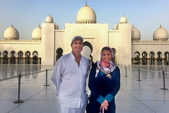 Lindsay Marissa with her father Deane at the Sheikh Zayed Grand mosque in Abu Dhabi