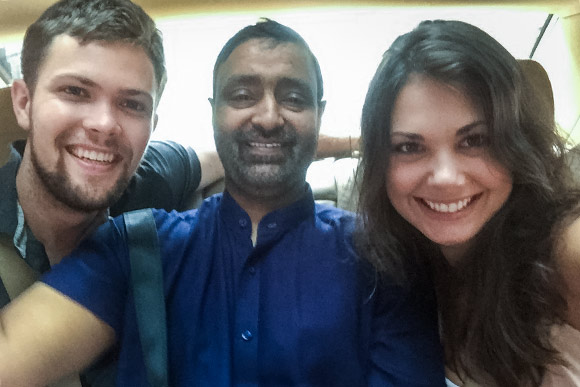 Lindsay (right) with Abid (center) and fello CouchSurfer Paul sightseeing around Hong Kong