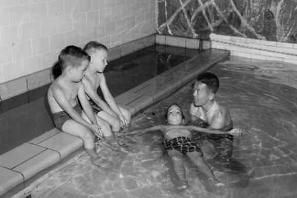 Swimming class at Alta House in 1957