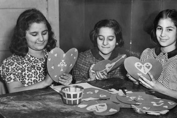 Girls making Valentines at the Alta House, 1940