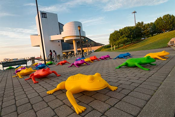 Cracking Art Group installation near the Rock & Roll Hall of Fame