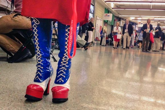 "Texas delegate Amy Hedtke's boots at the RNC. ""Actually, they're one of three pairs."""