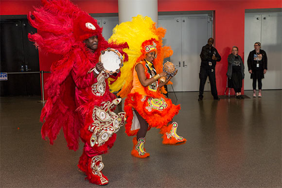 Indian Head Chief Shaka Zulu from New Orleans performs at the Rock Hall reception