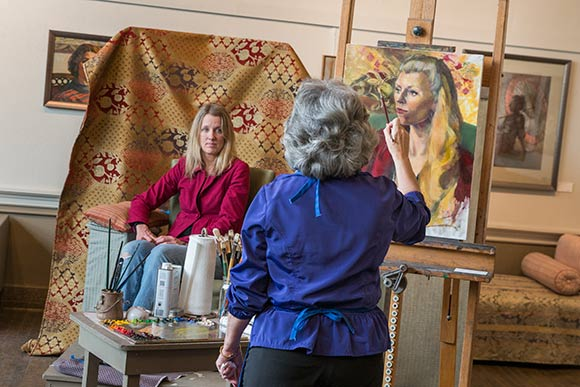 Portrait artist Tricia Kaman in her Murray Hill Galleries studio