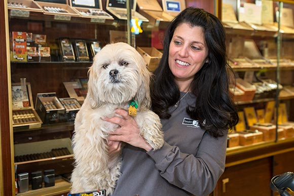Nicole Laurienzo, and her dog Nikki, owner of Mayfield Smoke Shop