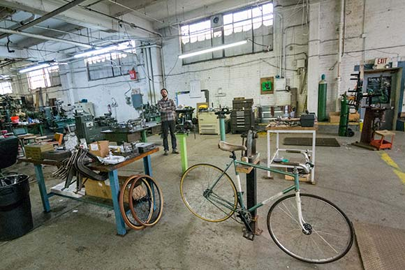Dan Polito in the workshop at Cicli Polito