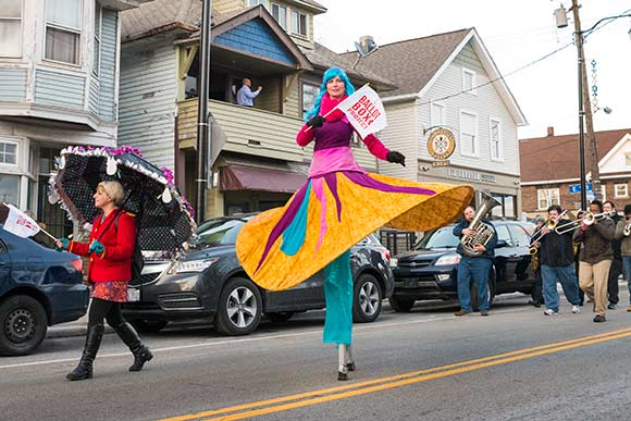 The Ballot Box project kicked off with a colorful parade during the March Walk All Over Waterloo event