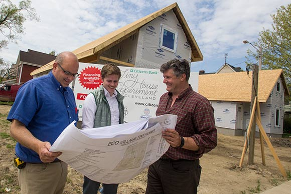 Keith Sutton of Sutton Development Group (left) with business partner Dave Territo (right) and Adam Davenport, head of EcoVillage Development (center)