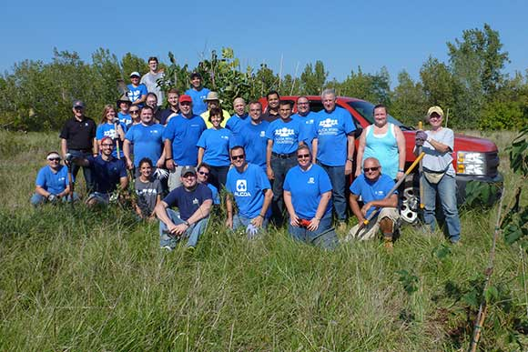 Alcoa volunteers in October 2016 planted 500 trees on the former Henninger Landfill site
