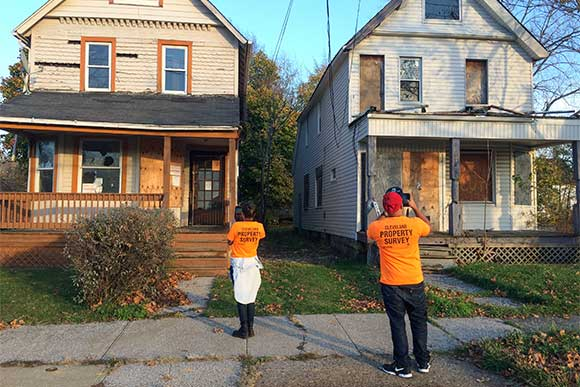 Cleveland Property Survey - surveyors in the field capturing information about Cleveland's housing stock for the 2015 Cleveland Property Inventory