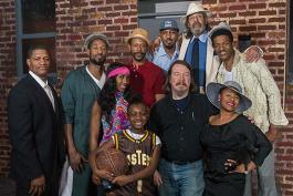 Christopher Johnston with cast of The Mighty Scarabs by Cornell Calhoun III at Karamu House, March 2015