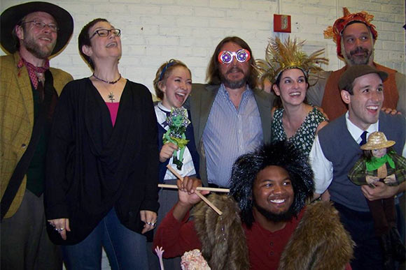 Christopher Johnston (fourth from left)  with cast and director and TCT Artistic Director Alison Garrigan after a show at Talespinner Children's Theatre