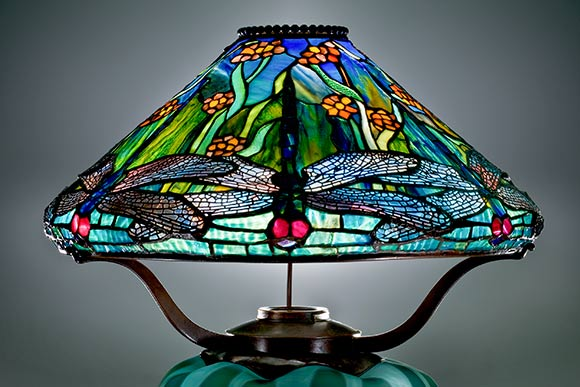 Reading Lamp with Dragonflies and Water Flowers by One of CIA's first students, Clara Wolcott Driscoll, 1899