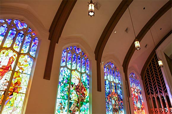 Stained glass artist Douglas Phillips (class of 1949) windows in Lakewood Presbyterian Church