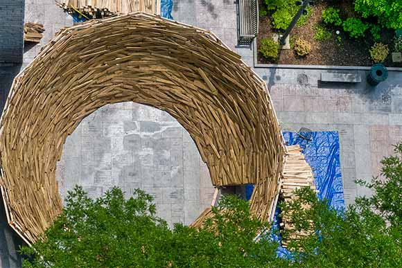Mark Reigelman (class of 2006) created the giant Reading Nest at the Cleveland Public Library in the summer of 2013