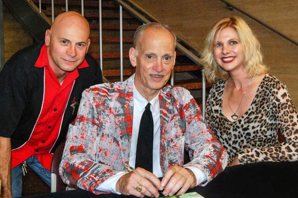 John Waters (center) with writer Hollie Gibbs and husband Brian during his one-man show at CIA in September 2014