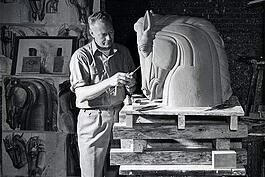 Viktor Schreckengost working on O'Neill in the studio.