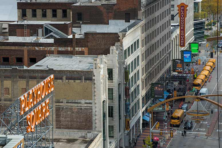 View of Playhouse Square from the Cleveland Athletic Club building
