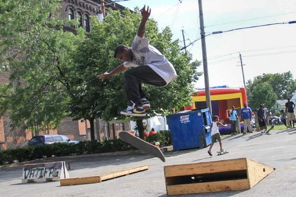 Ja�Ovvoni Garrison hosted a skate park pop up event in 2013 at University Settlement for their back to school fair on Broadway
