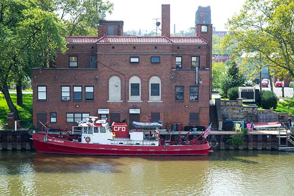 Cleveland Fire Station 21, built in 1923 and the Anthony J Celebrezze fireboat