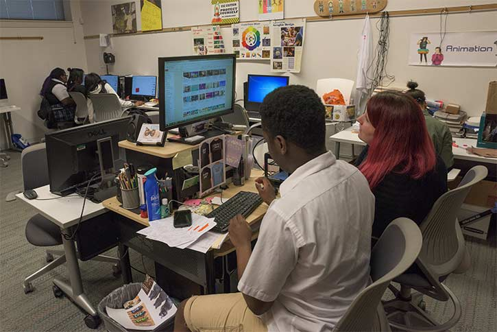 Graphics Arts class with instructor Natalie Eddy